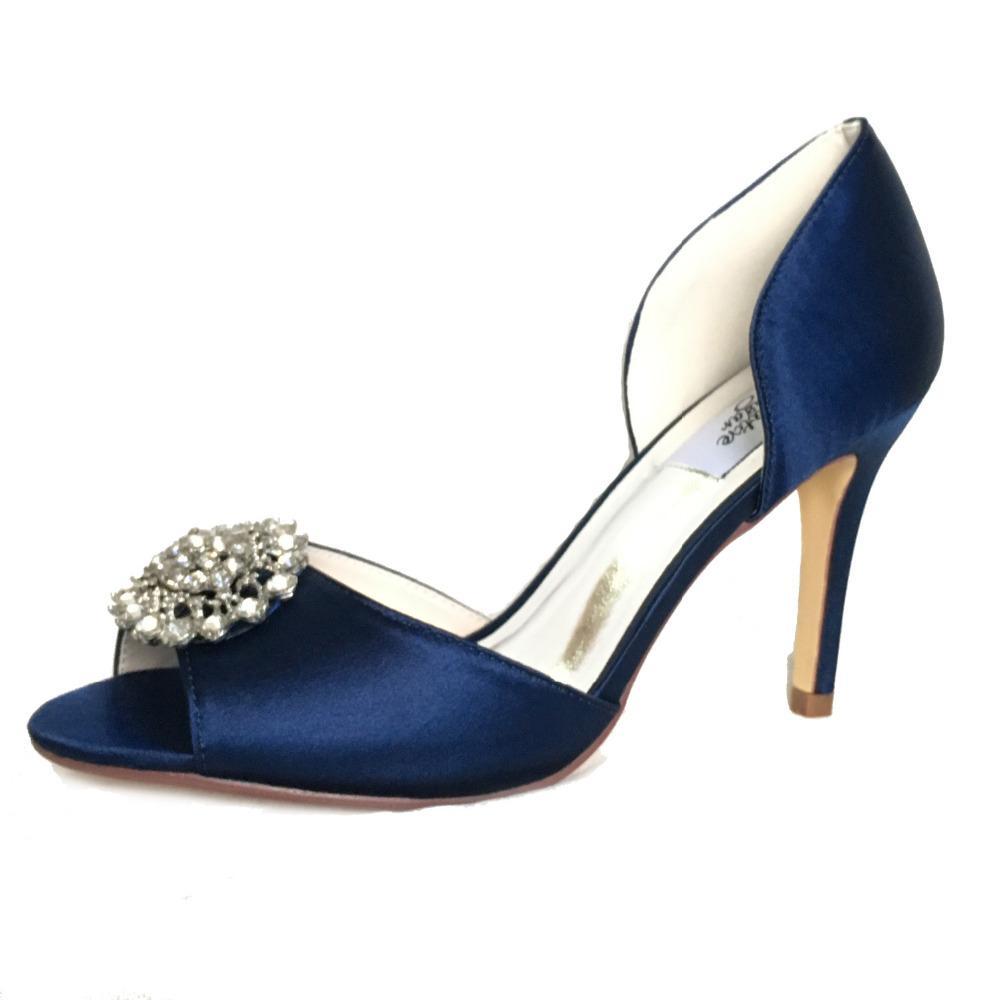 2cd7cd6128 2019 Only 1 paio - Creativesugar blu navy in raso scarpe da sera open toe  sposa da sposa prom cocktail tacchi da donna pompe di cristallo