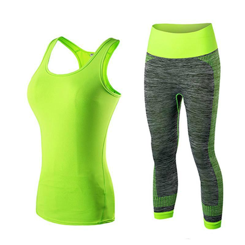 Quick Dry sportswear Gym Leggings Female T-shirt Costume Fitness Tights Sport Suit Green Top Yoga Set Women's Tracksuit1029