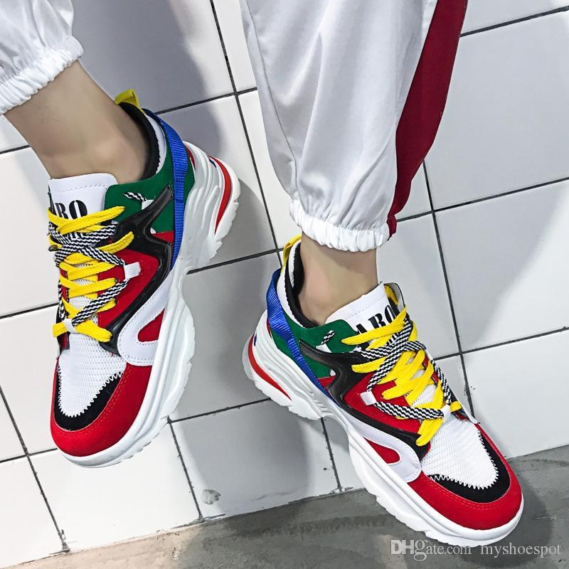 e86432aaf41 Compre Weweya Spring Unisex Chunky Sneakers Tenis Zapatos Casual Hombres  Malla Calzado Zapatos De Plataforma Masculinos Colores Mezclados Krasovki  Men 46 ...