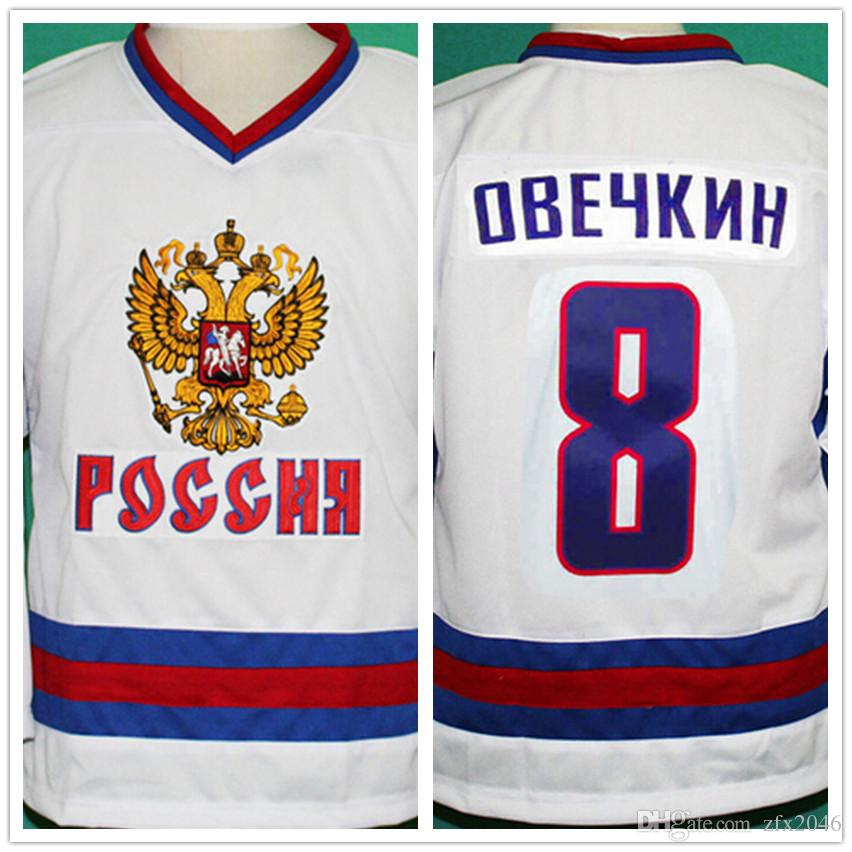 new concept 8fdfc 54df8 Double Stitching and embroidered 8 Alex Ovechkin White Jersey Stitched  Hockey Team Russia Stitched Logos embroidered Custom