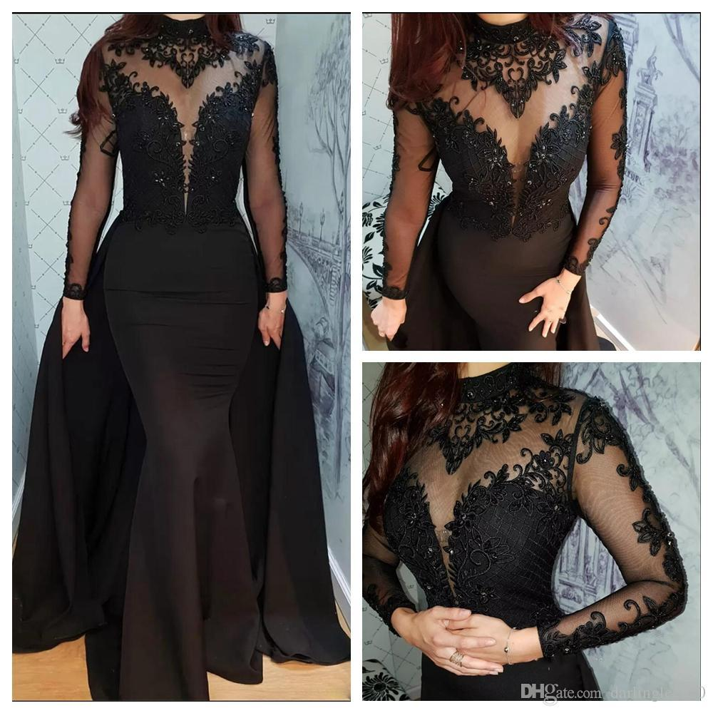 Black Prom Dresses with Sheer Overlay