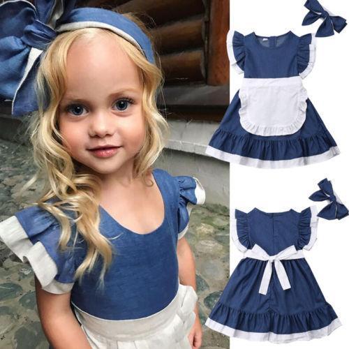 f1dc1e21a Satın Al 2019 Yaz Rahat Çocuklar Bebek Kız Kıyafetler Giysi Kırpma T Shirt  Denim Beyaz Pamuk Elbise Sevimli Set Giyim Tops, $33.54 | DHgate.Com'da