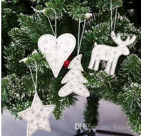 4pcs/set White Christmas Tree Ornament Decorations Wooden Elk Tree Star Hanging Pendant Christmas Decorations for Home 2019