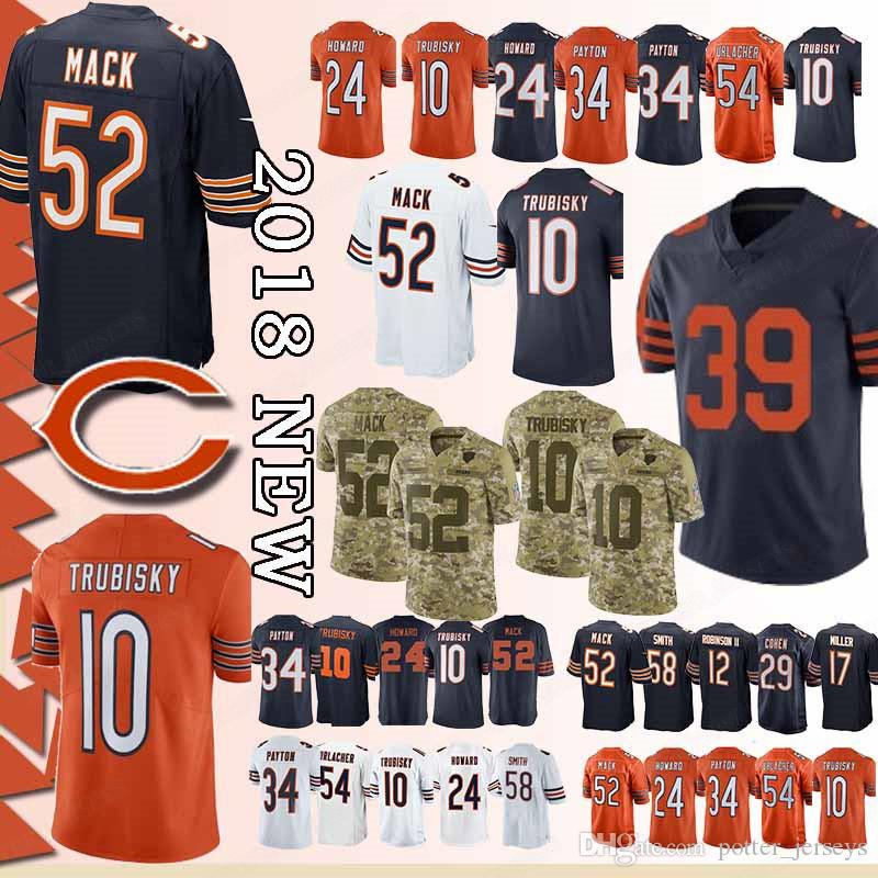 premium selection b8537 a8be4 52 Khalil Mack Jersey 10 Mitchell Trubisky Chicago Bears Jersey Orange Navy  blue 39 Eddie Jackson 58 Roquan Smith 24 Howard Jerseys Top