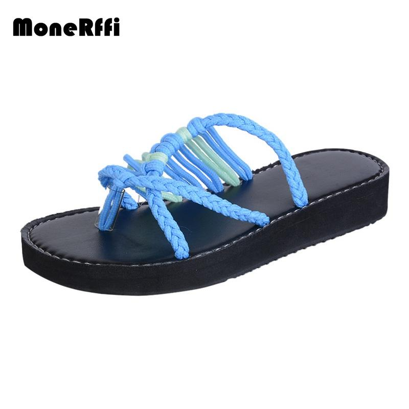 25870895b MoneRffi Flat Summer Sandal Women Junior Girl Shipping Flip Flop Thong  Cross Toe Sandal Casual Knit Knot Beach Shoes New 2019 White Shoes Womens  Sandals ...