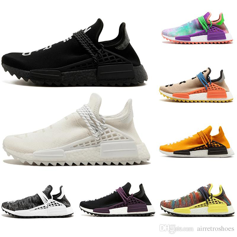 detailed look 037ff 85d4a 2019 Orange Human Race trail Running Shoes Nerd black cream Men Women  Pharrell Williams HU Runner Yellow White Red sports runner sneaker