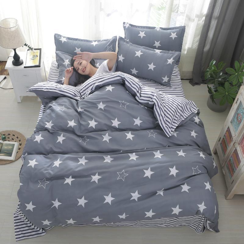 Großhandel Graue Sterne Bettwäsche Sets Kinder Jungen Twin Queen