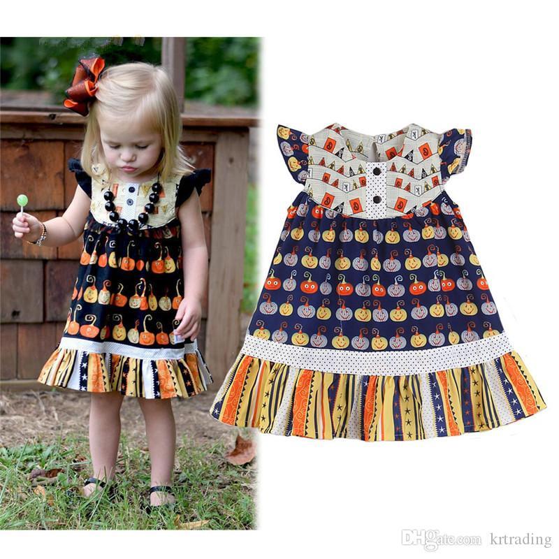7e6d090e6 2019 Girls Pumpkins Printing Dresses Cute Kids Toddlers Holloween ...