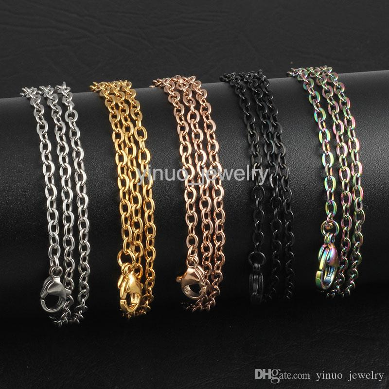 Silver/Rose Gold/Gold/Black Stainless Steel 18-32 inches 2.5mm Link Chain Pendant Necklace Jewelry for women/men