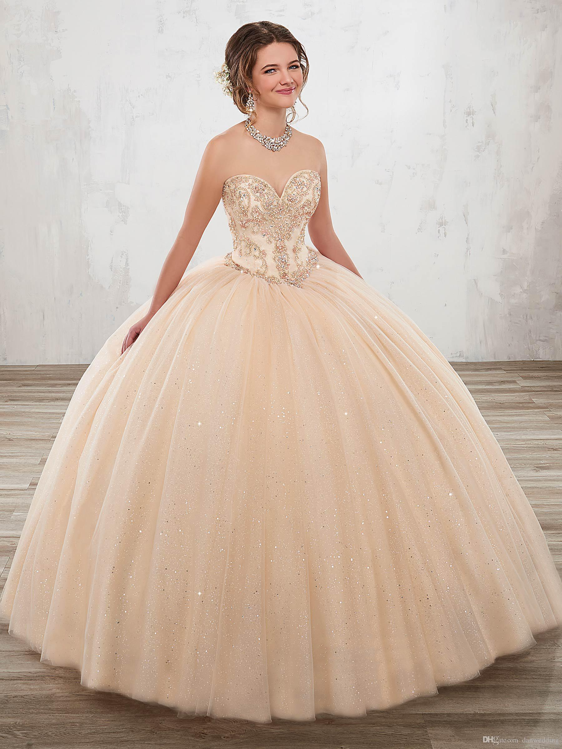 50f1cbf4cfa Princess Champagne Tulle Sweetheart Beads Quinceanera Dresses Special  Occasion Party Dresses Dance Prom Dresses Custom Size 2 18 KF1229343 White  Quinceanera ...
