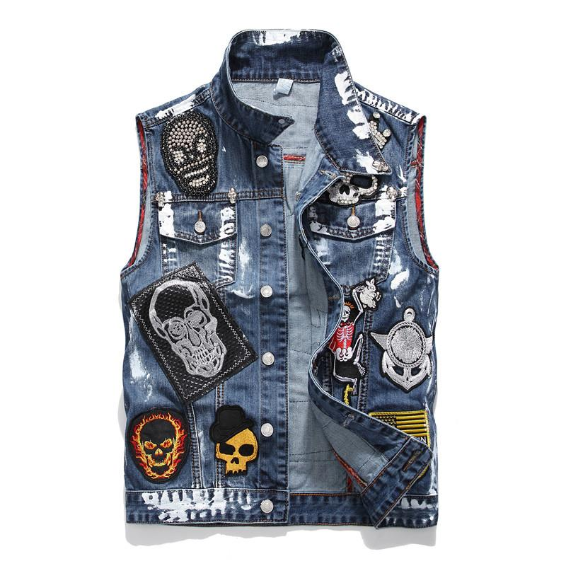 2019 dos homens Multi Patches Beading Design de Moda Azul Denim Vest Oi Hop Crus Fit Slim Carta Bordado Patchwork Tops Novo