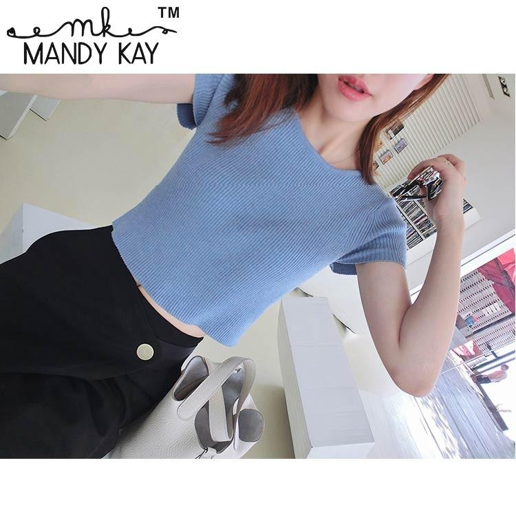 188d63d838eec 2019 Summer Round Neck Sweater Women S Thin Short Sleeved Crop Top Shirt  Short T Shirt Office Style Elasticity From Mandykay