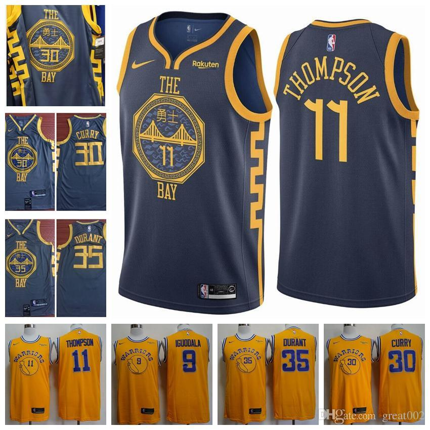 the best attitude dcfe9 1bb55 Newest 2019 Warriors 35# Kevin Durant Jersey 30# Stephen Curry 11# Thompson  9# Andre Iguodala Basketball Stitched Jerseys