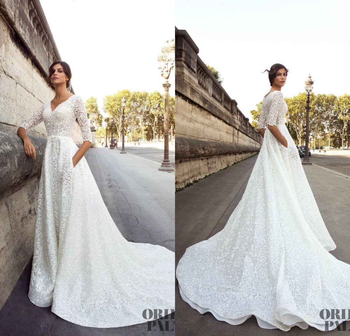 d6ba7cdba3 Discount Luxury Appliques Beach Wedding Dresses With Pocket V Neck Half  Long Sleeve Court Train Custom Made Bohemian Wedding Dress Bridal Gowns  Dress For ...