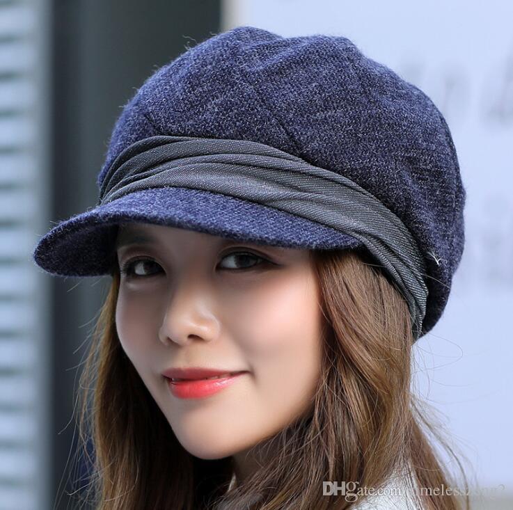 Autumn Winter Women Beret Octagonal Hats Worsted Plaid Newsboy Caps ... 9a3d587df2b