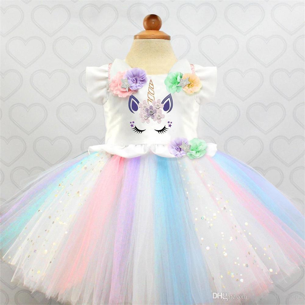 8c1f9b01c1 2019 NEW Flower Girls Tutu Dresses Fancy Rainbow Princess Colorful Unicorn  Dress Christmas Halloween Costume Kids Girl Party Dress 1 5Y From ...