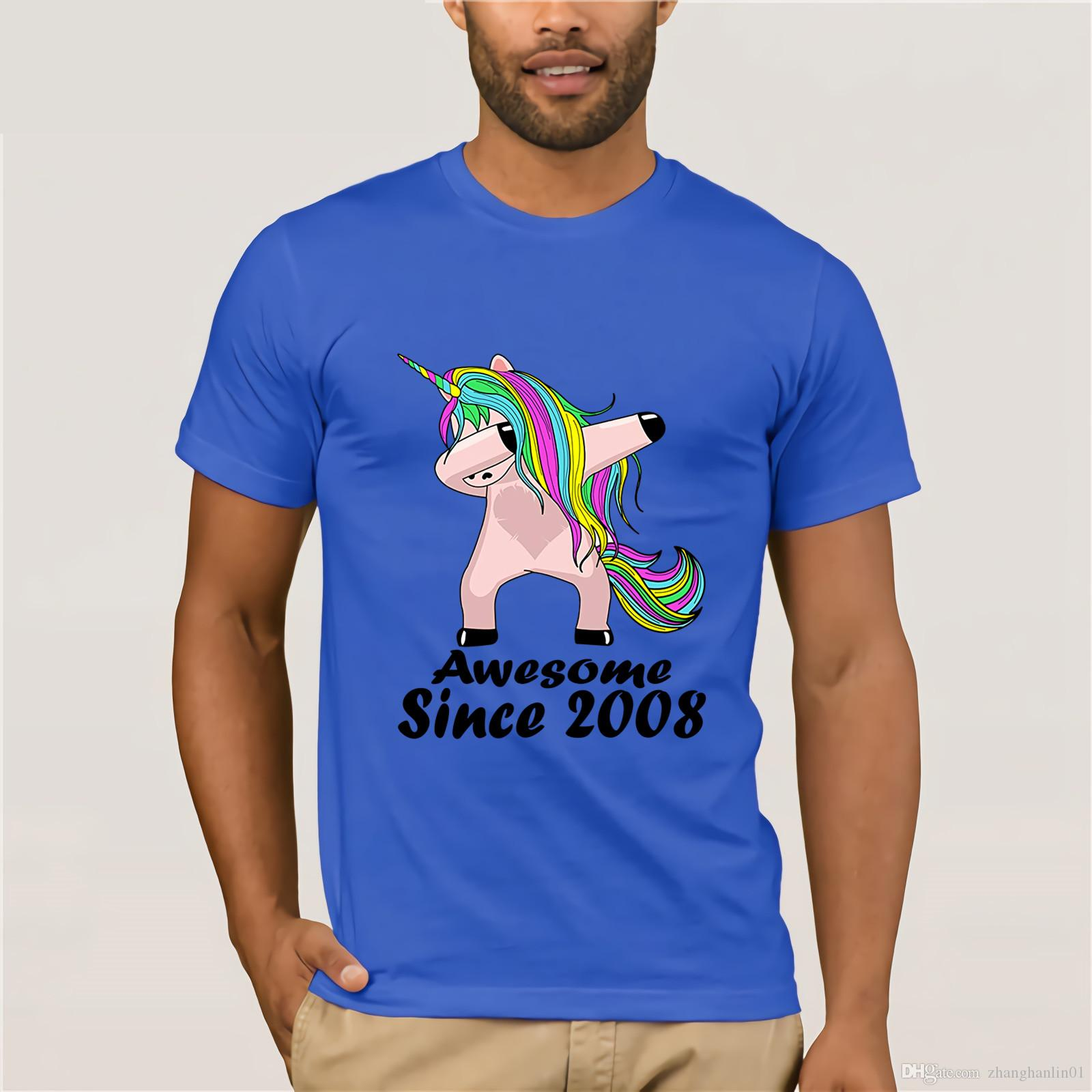 Kid 10 Yrs Old 10th Birthday Unicorn Dabbing Shirt 2008 Cute T Discount 100 Cotton For MenS Simple Cool Tee Designs Tees Shirts Cheap From