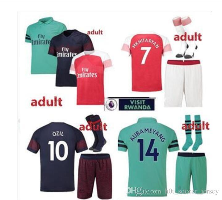 Arsenal KITS 2018  19 AUBAMEYANG Soccer Jersey LACAZETTE SHORTS SOCKS Home  10 OZIL MKHITARYAN 2018 XHAKA RAMSEY Away THIRD Football Shirts MKHITARYAN  RAMSEY ... 5ecc1e37d