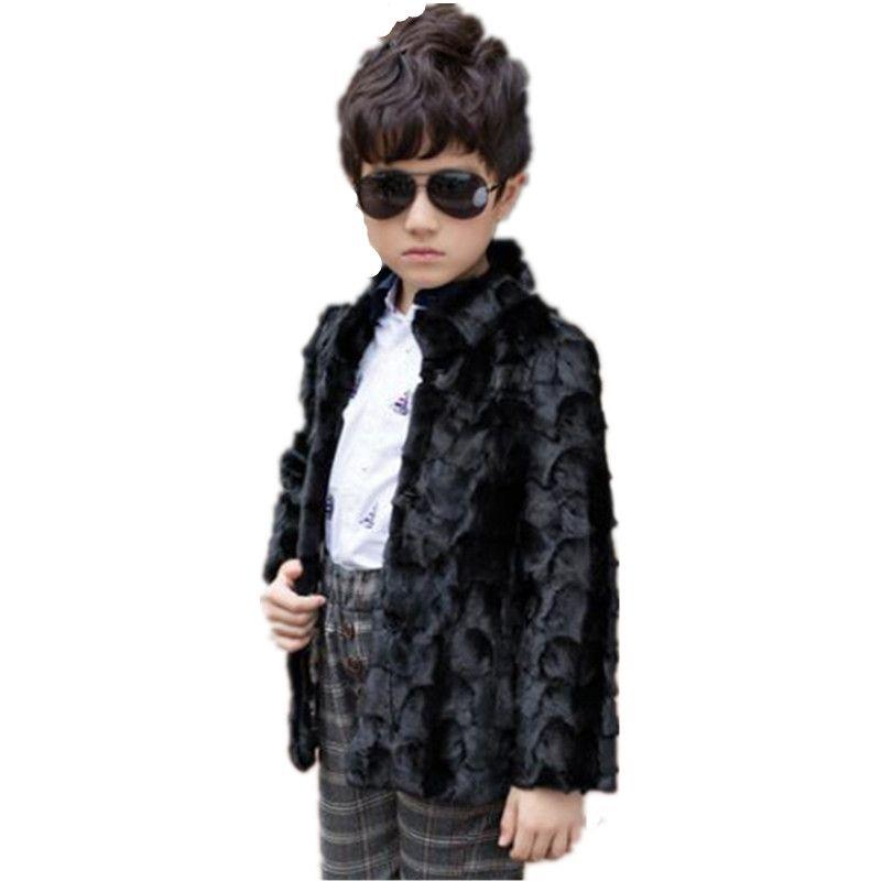 new styles bdf08 908f8 2019 kinder faux kaninchen pelzmantel baby mädchen und jungen herbst winter  warm einreiher kapuze luxus baumwolle jacke n67
