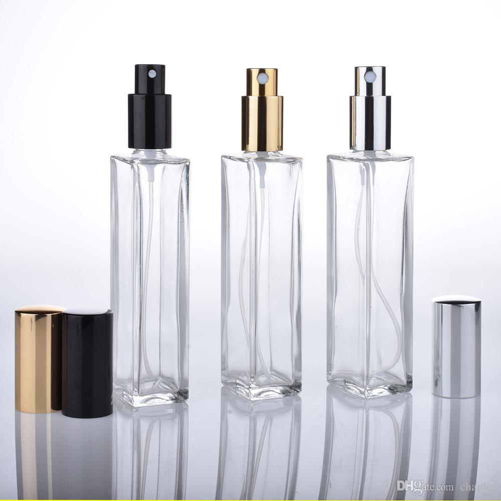 9faa2d74ad9e 50ML Empty Clear Glass Perfume Spray Bottle 1.66Oz Refillable Square  Atomizer with Black Gold Black Pump Cap