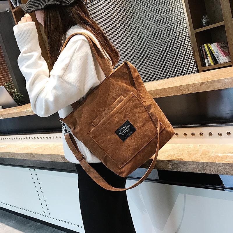 2c6d66f5fa994 Großhandel 2019 Frauen Cord Reißverschluss Umhängetasche Baumwolle Leinwand Handtasche  Lässig Tote Weibliche Eco Umhängetasche Damen Vintage Messenger Bags ...