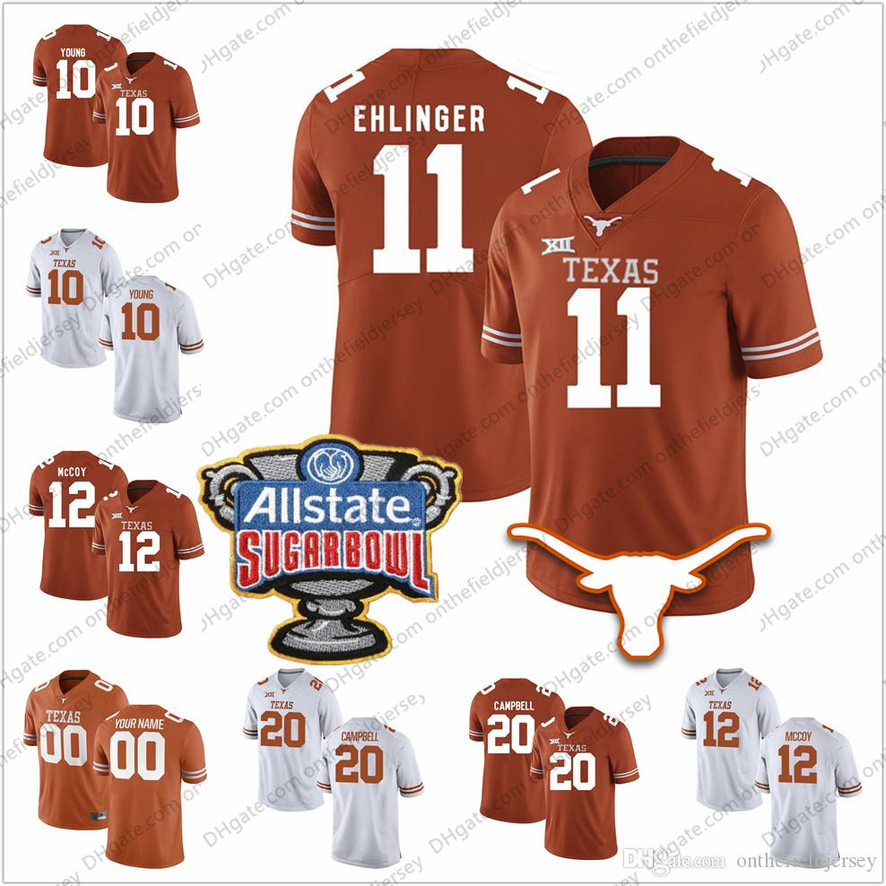 low priced 92d31 627f1 Texas Longhorns #11 Sam Ehlinger 7 Shane Buechele 9 Collin Johnson 25  Warren III 32 Young NCAA Sugar Bowl College Football Jerseys S-3XL