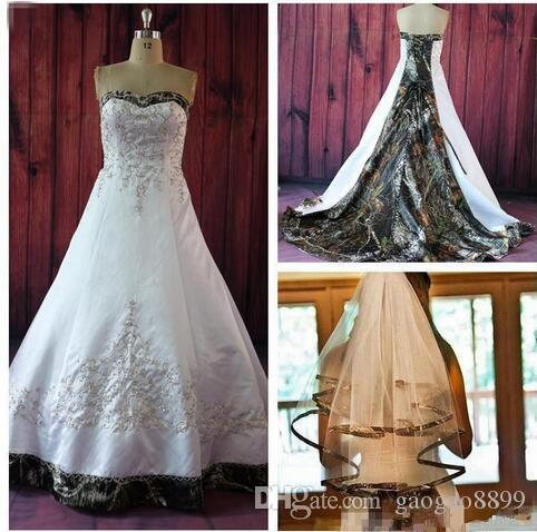 Elegant A Line Camo Wedding Dresses With Embroidery Beaded Lace Up Court Train Plus Size Vintage Country Garden Bridal Wedding Gowns