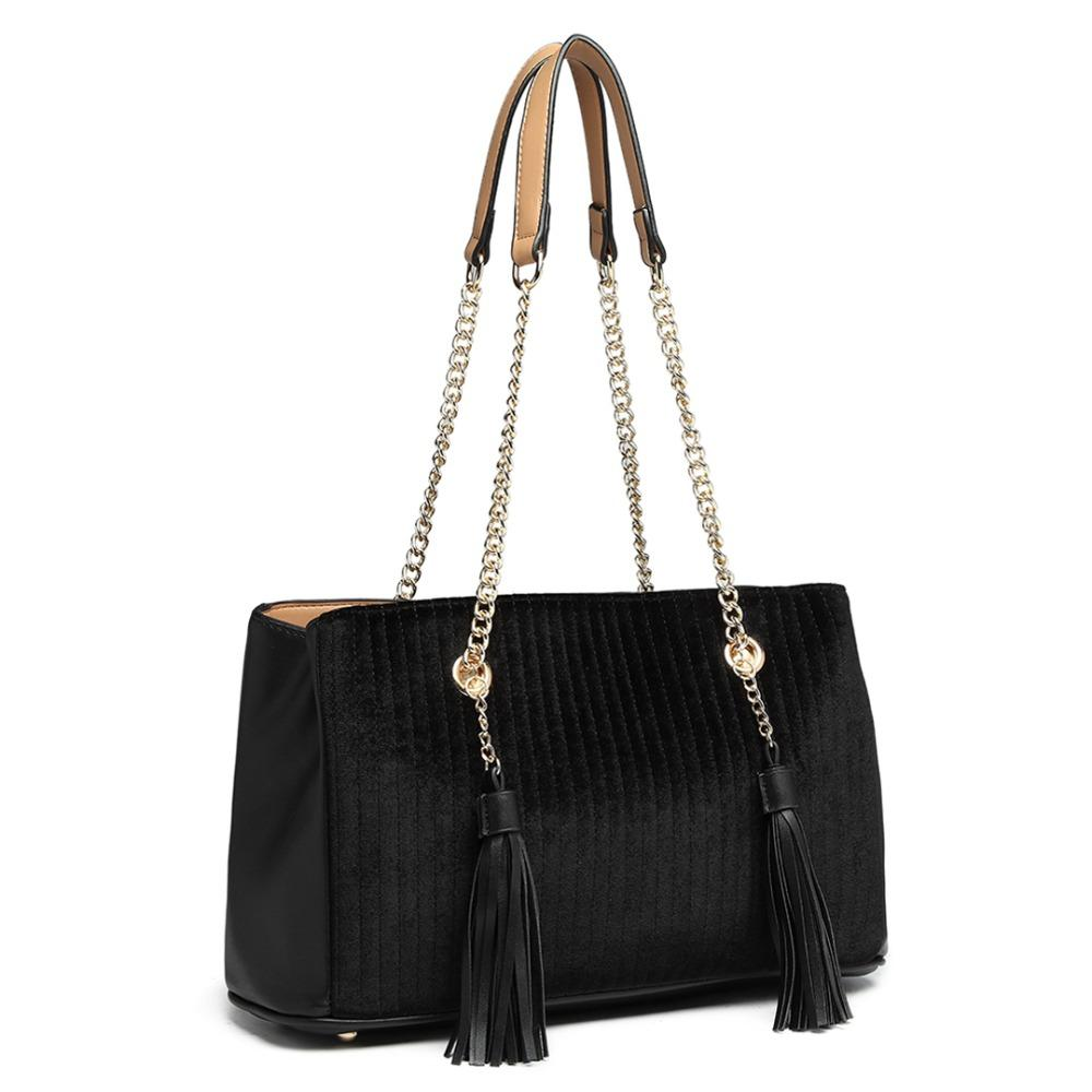 55fea79863658 Miss Lulu Women Tassels Handbags Gold Chain Shoulder Bags Top Handle Bag  Ladies Fashion Black Synthetic Leather Totes LT6857 Backpack Purse Bags For  Men ...
