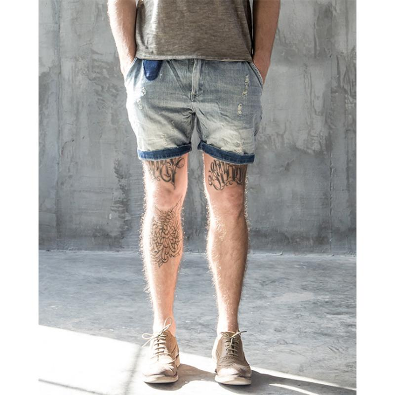 2017 Summer Mens Denim Shorts RRL Bermudas Masculina De Marca Short Ripped Jeans Men Streetwear Branding Clothing