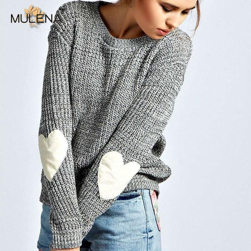 купить оптом мода сердце вставить ткань вязаный свитер женщины