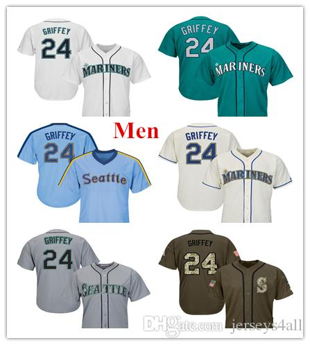 online store 54217 1f21d Mens Seattle Mariners Baseball Jerseys 24 Griffey Jr. Jersey Cream Aqua  Green White Grey Gray Green Salute Players Weekend Team Logo