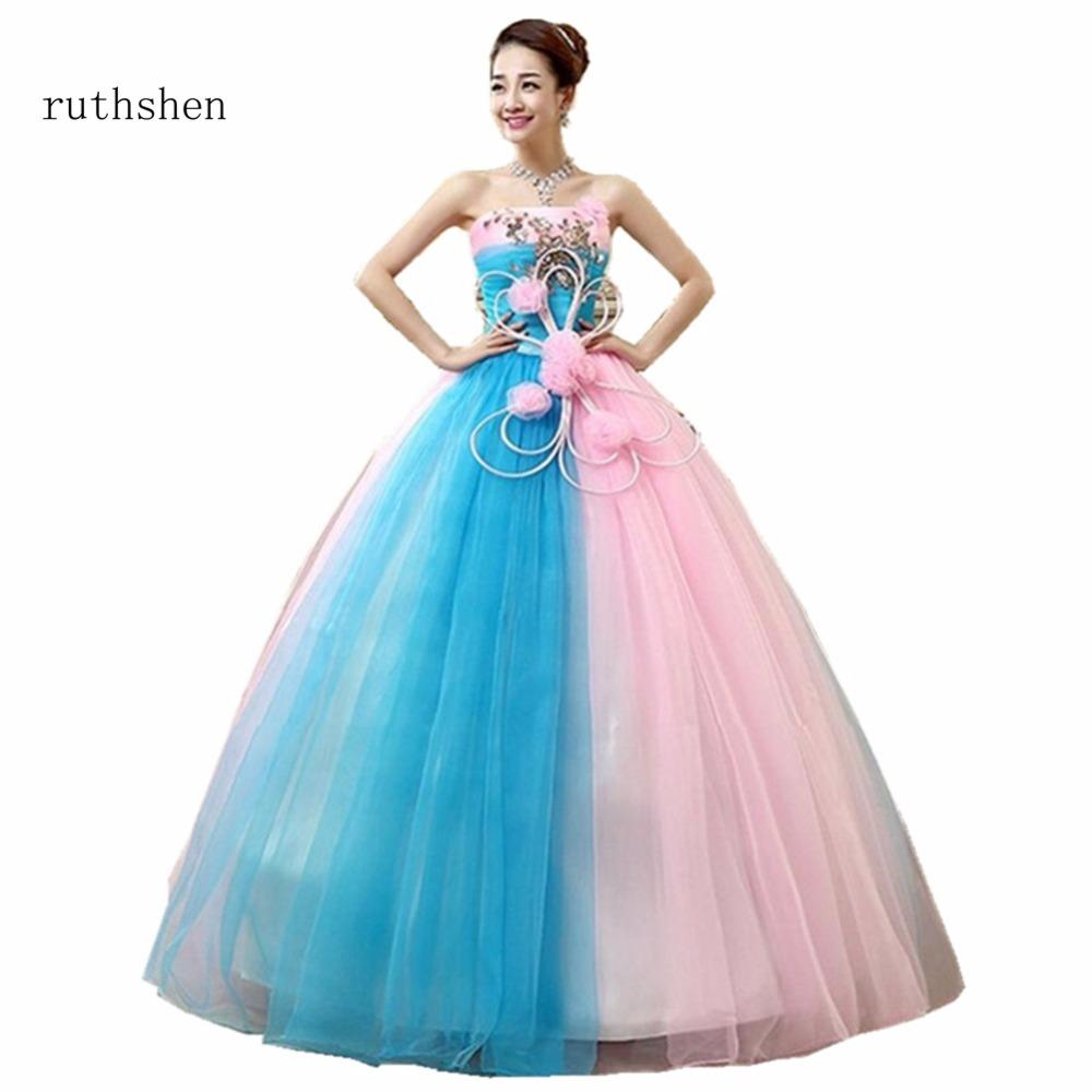 wholesale 2018 Cheap Prom Ball Gowns Light Blue And Pink Ruched Appliques Ball Gown Quinceanera Dresses With Strapless Style