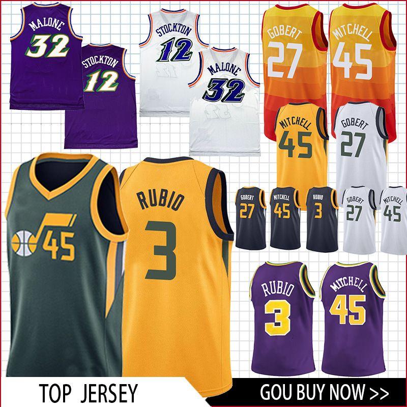 sports shoes 3bdde dd42c new 2019 45 Mitchell 27 Gobert Jersey 3 Rubio 2 Ingles 12 Stockton 32  Malone Basketball Jersey men top quality