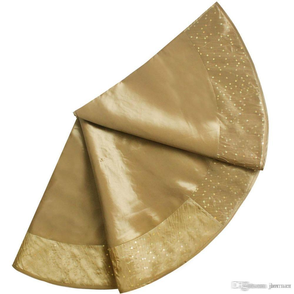 Wholesale Free Shipping Extra Large 50 Christmas Tree Skirt Glitter Sparkle Luxury Sequin Border Gold Ph813