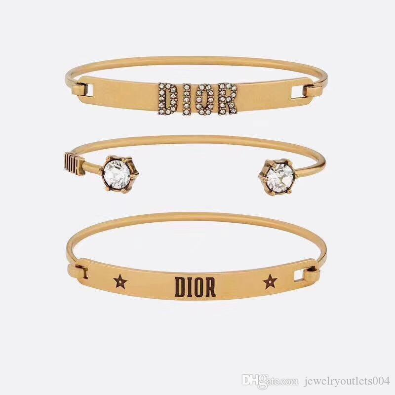Hot Sale opened punk Classic bangle 3pcs in a set Design top quality cuff punk lovers bangle Size for Women and man brand jewelry gift