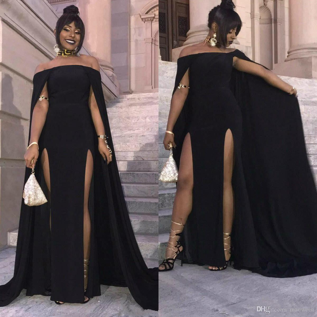 9c08f93036e Sexy Black Long 2019 Prom Dresses With Cape High Side Split Off The Shoulder  Elegant African Party Women Mermaid Evening Dress Chinese Prom Dresses City  ...