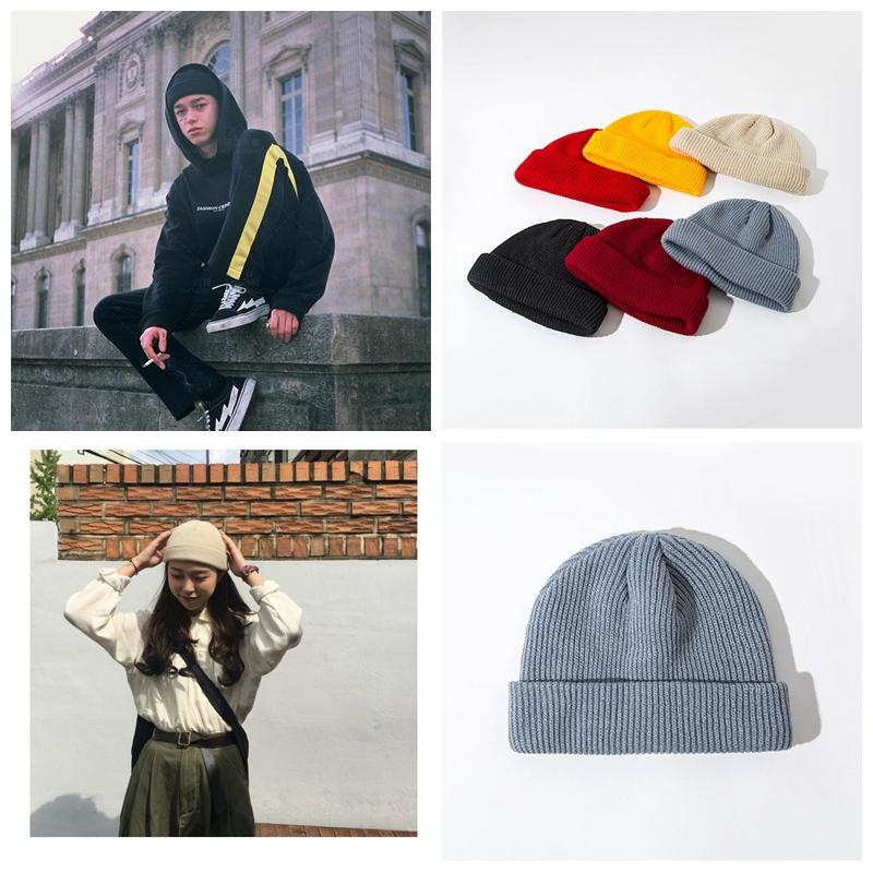 110b4c53da863 Unisex Trendy Hats Knitted Cap Autumn Winter Men Cotton Warm Hat ...