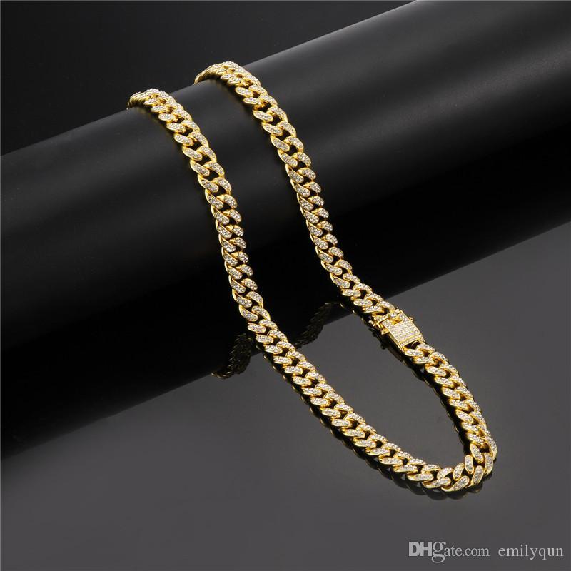 bf38020e457e Compre Moda Hip Hop Collar Para Hombre Mujer Enlace Cubano 18K Cadena  Collares Con Diamantes Pulseras Unisex Oro Plata 60 70cm Cadenas A  22.61  Del Emilyqun ...