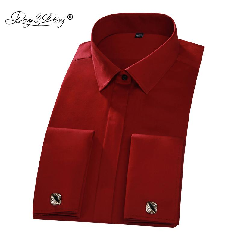 a75030e085925 Davydaisy 2018 New Arrival 100% Cotton French Cuff Men s Shirt Red Long  Sleeved Man Formal Solid Shirts Weeding Shirt Ds223 J190417