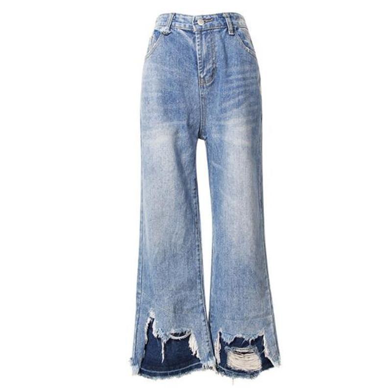 de3a260420 Compre 2019 Mujeres Primavera Contraste Color Costura Dobladillo Jeans Jeans  Vintage Cintura Alta Sueltos Pantalones De Mezclilla Tobillo Longitud ...