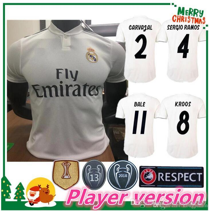 5693e5491d6 PLAYER VERSION 18 19 Real Madrid Home Soccer Jersey ASCENSIO 2018 ...