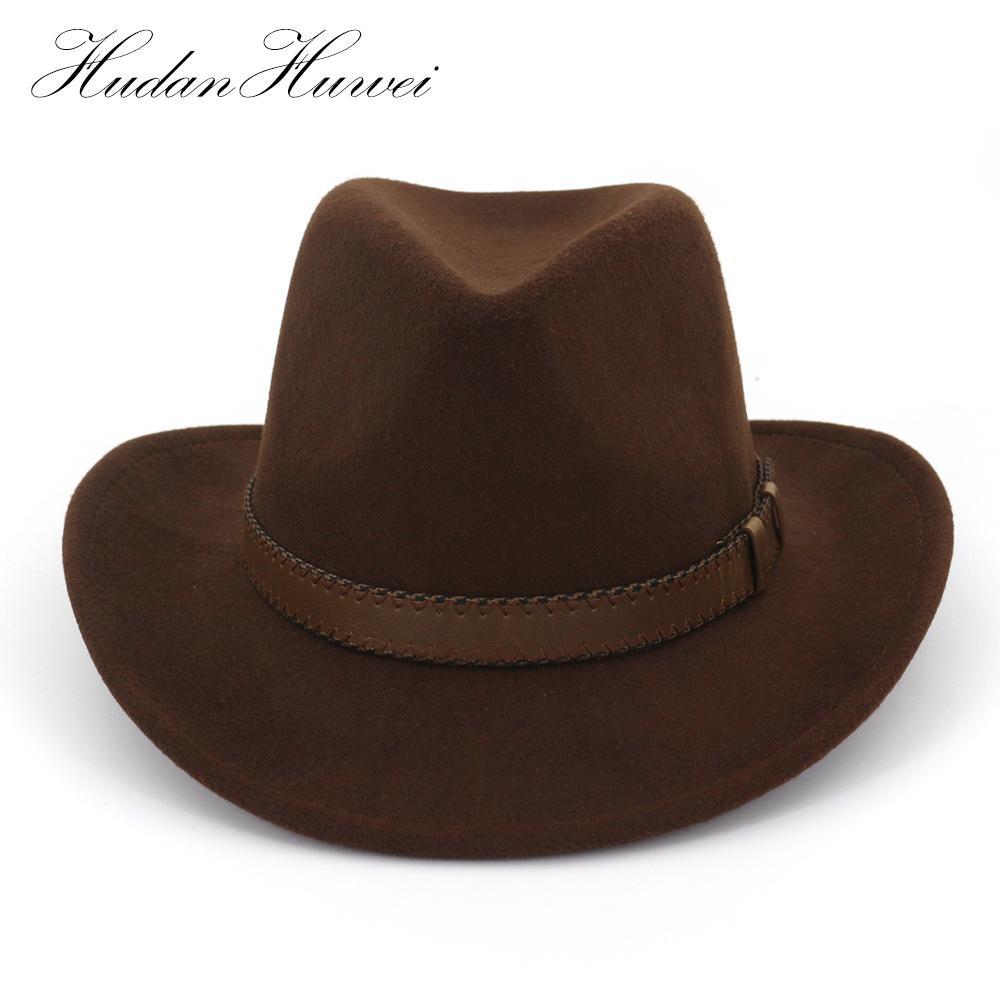 Wool Western Cowboy Hat Panama Women Men Wide Brim Cowgirl Braid Leather Cap Lot