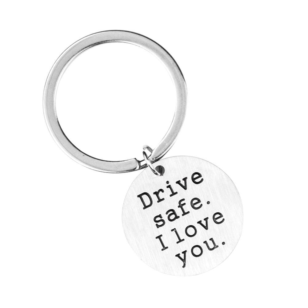 New Arrival I Love You Round Pendant Key Chain Stainless Steel Hanging Keyring Car Key Cute Gifts Women Bag Chains