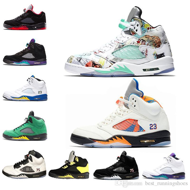 f422e556eb79b4 2019 2019 Fresh Prince 5 Wings 5s PSG Black Retros Men Basketball Shoes  PARIS Laney Oreo Silver OG Grape Space Jam Mens Sports Retro Sneakers From  ...
