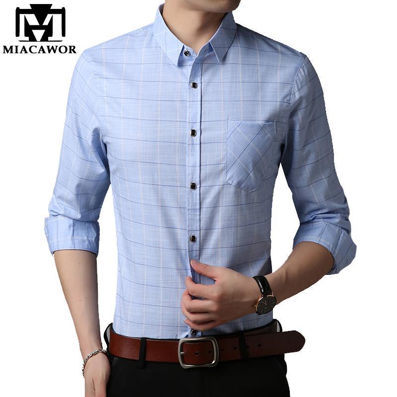 c445720d341f 2019 New Men Shirt Spring Long Sleeve Plaid Shirt Business Casual Camiseta  Masculina Slim Fit Dress C403 From Cute08, $44.02 | DHgate.Com