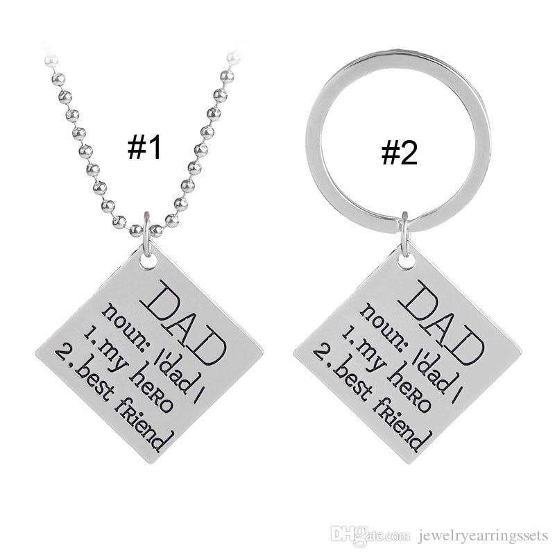 DAD My Hero Best Friend Necklace Key chain Letter Square Pendant Rings Family Love Fashion Jewelry Gift Father gift DROP SHIP