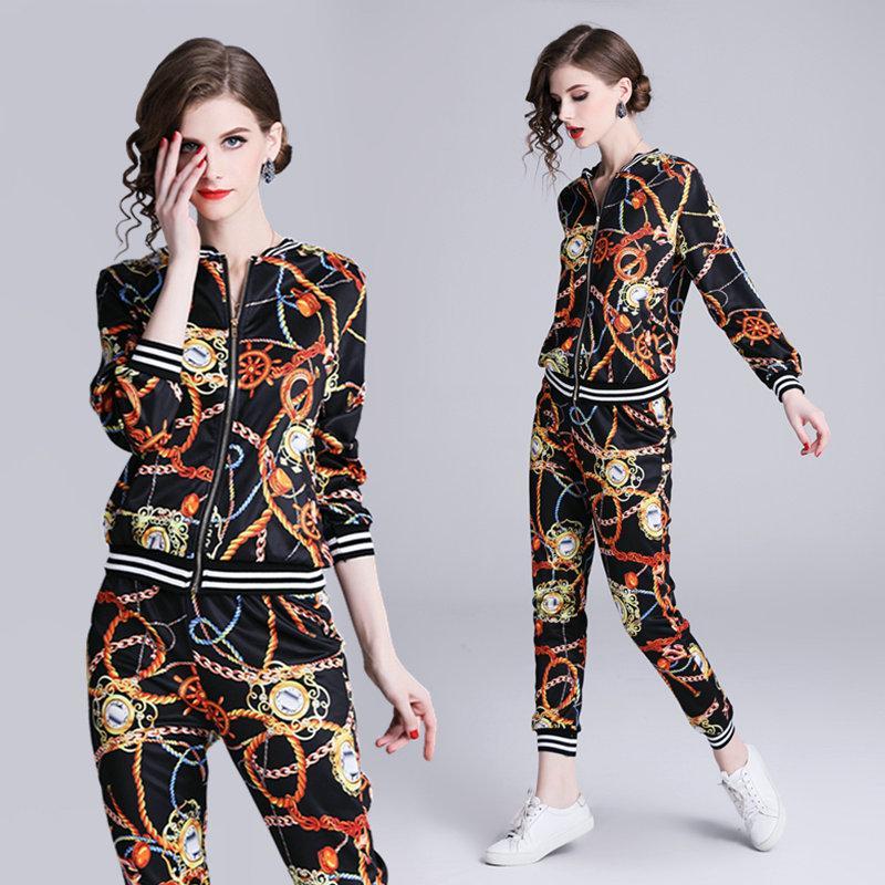 Mädchen Neue Frauen Casual Junges Sets Jacke Hose Printed Frühjahr Sport Reißverschluss Anzüge Zweiteiler Mode Und Damen Anzug srtChQd