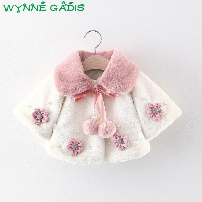 Winter Baby Girls Flower Faux Fur Fleece Princess Party Cape Cloak Outerwear Coats Kids Cute Jackets Casaco Roupas De Bebe J190509