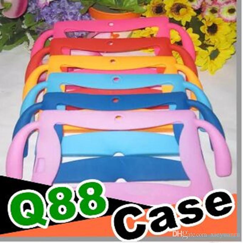 "Kids carton Soft Silicone Silicon Case Protective Cover Rubber with handle For 7 "" Q88 A13 A23 A33 Tablet pc MID Colorful Free DHL"