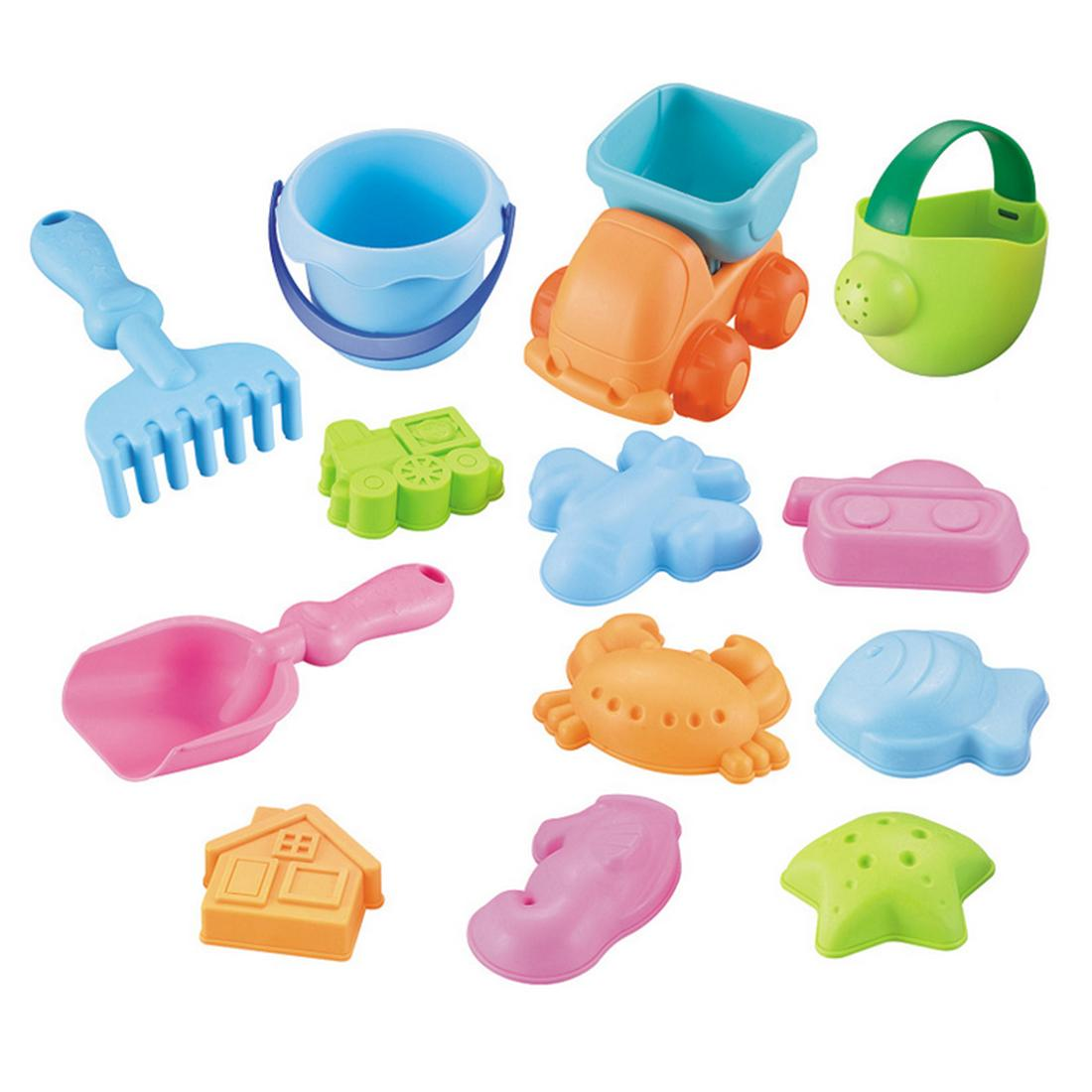 11-in-1 Beach Sand Toy Set Bucket Shovels Watering Can Children Safety Soft Plastic Toys Toys & Hobbies Color Random